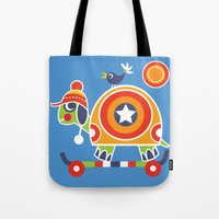 skateboard Tote Bags featuring SKATEBOARD TORTOISE by Shirley Copperwhite
