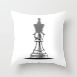 Pawn with a king shadow Throw Pillow