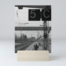 Photographer at work, black and white photo Mini Art Print