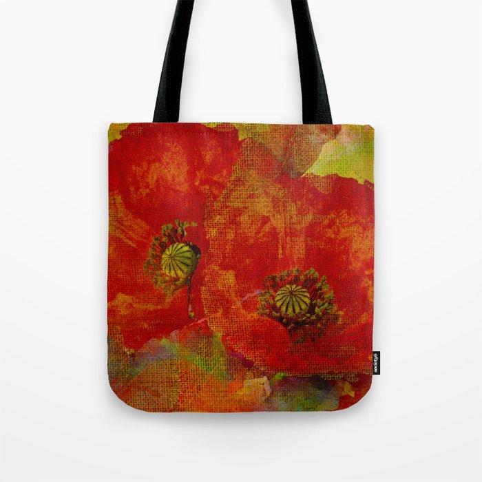 Poppies red & orange Tote Bag