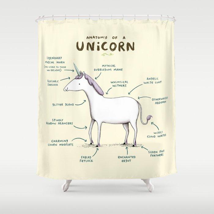 Anatomy Of A Unicorn Shower Curtain