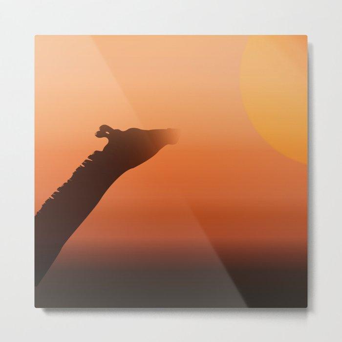 Sunny Giraffe Metal Print
