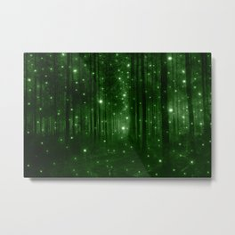 Glowing Emerald Green Forest Metal Print