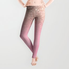 Modern rose gold glitter ombre hand painted pink watercolor Leggings