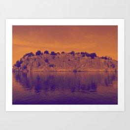 Lake Superior Rock Island Red Purple [Jordan E. Eismont] Art Print