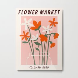 Flower market print, Columbia road, Floral art, Flower art, Aesthetic art print, Peach art Metal Print