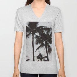 Velvet Palm trees on marble Unisex V-Neck