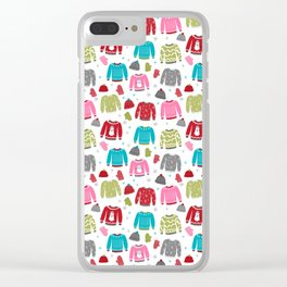 Sweaters festive outfit skiing winter sports cross country ski ugly sweater party Clear iPhone Case