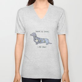 Dachshund - Powered by curiosity Unisex V-Neck
