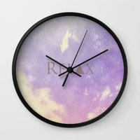 relax Wall Clocks featuring Relax by Rachel Burbee