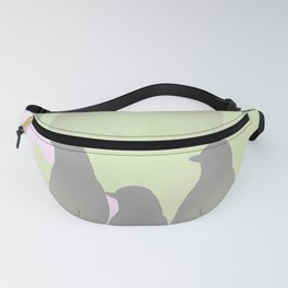 Spring mood - singing birds on a green pink background Fanny Pack