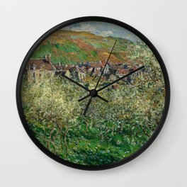 Plum Trees in Blossom Wall Clock
