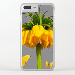 BUTTERFLIES YELLOW CROWN IMPERIAL FLOWERS Clear iPhone Case