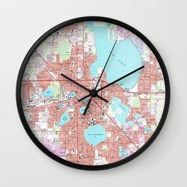 Lakeland Florida Map (1975) Wall Clock
