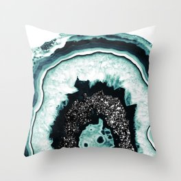 Icy Blue Agate with Black Glitter #1 #gem #decor #art #society6 Throw Pillow