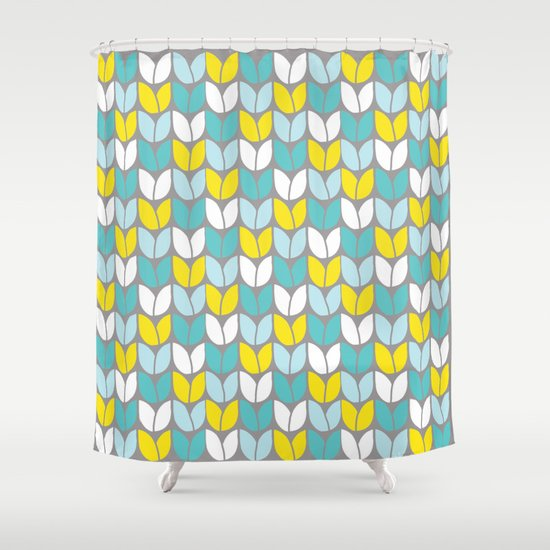 Tulip Knit Aqua Gray Yellow Shower Curtain By Beth Thompson Society6