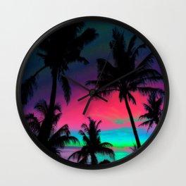 Deep Pink Palm Tree Sunset Wall Clock