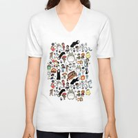 kawaii V-neck T-shirts featuring Kawaii Ghibli Doodle by KiraKiraDoodles