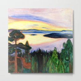 View from Nordstrand, Sunset lake and forest alpine Oslo, Norway landscape painting by Edward Munch Metal Print