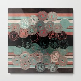 Peachy Mint Swirls Metal Print