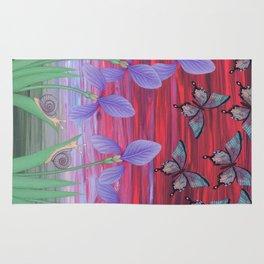 red sky iris garden Rug