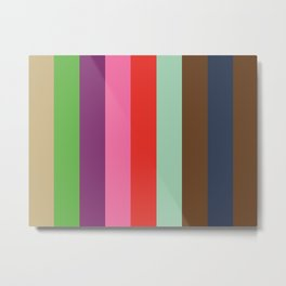 EKPHRASIS : (E)cru (K)elly Green (P)urple (H)ot Pink (R)ed (A)quamarine (S)epia (I)ndigo (S)epia.  Metal Print