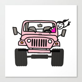 Jeep Wave Pink - Girl Canvas Print