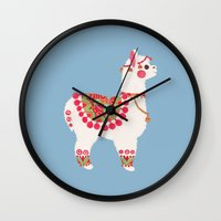 alpaca Wall Clocks featuring The Alpaca by haidishabrina