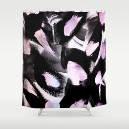 black, pink and white abstract painting Shower Curtain