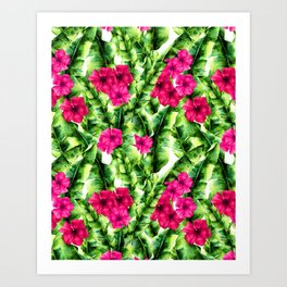 green banana palm leaves and pink flowers Art Print