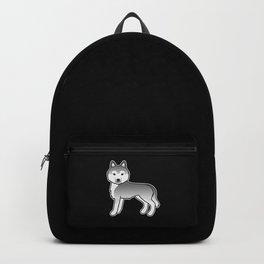 Silver Siberian Husky Dog Cute Cartoon Illustration Backpack