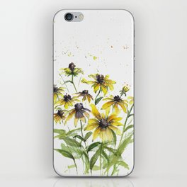 Loose Black Susans in watercolor iPhone Skin