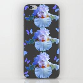 LILAC-PURPLE BLUE BUTTERFLIES  BROWN ART DESIGN iPhone Skin