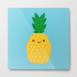 Kawaii Pineapple Metal Print