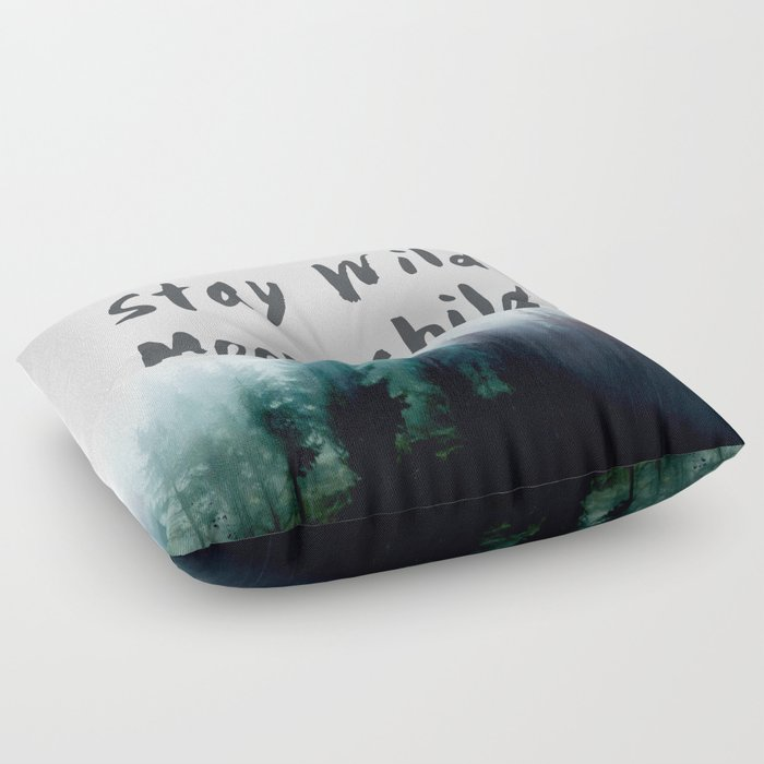Stay wild moon child watercolor Floor Pillow by hunterofwoods | Society6