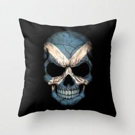 Dark Skull with Flag of Scotland Throw Pillow