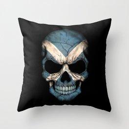 Dark Skull with Flag of Scotland Throw Pillow