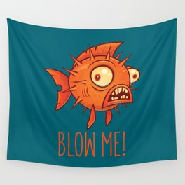 Blow Me Porcupine Blowfish Wall Tapestry