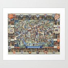 Cambridge University campus map Art Print