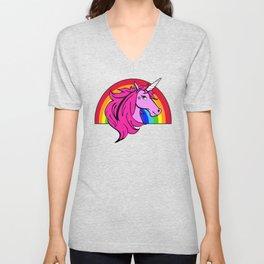 Colorful Cartoon Unicorn Rainbow - Pink Unisex V-Neck