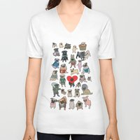 pugs V-neck T-shirts featuring Pugs by Yuliya