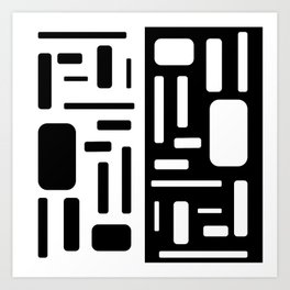 Black and White Rectangles Design Art Print