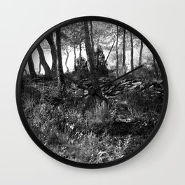 Black and white country wicked forest Wall Clock