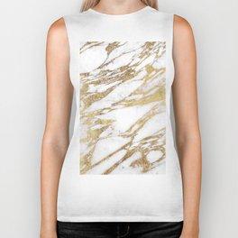 Chic Elegant White and Gold Marble Pattern Biker Tank