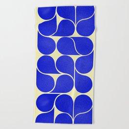 Blue mid-century shapes no8 Beach Towel