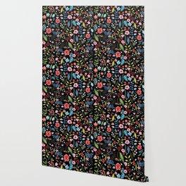 Colorful botanical flowers black background Wallpaper