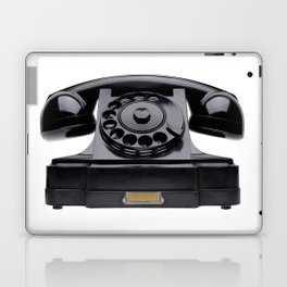 Old black telephone, middle of 20th century, aged and scuffed Laptop & iPad Skin