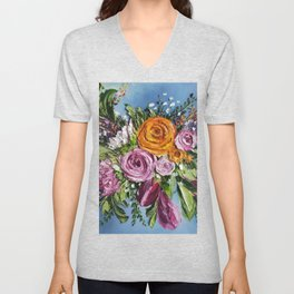 Bright Colorful Flowers Painting,Thick Paint,Textured Flowers Art,3d Floral Art,Eclectic Decor,Color Unisex V-Neck