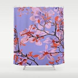 Copper Flowers on violett ground Shower Curtain