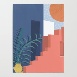 A Mediterranean view with plants and sun Poster